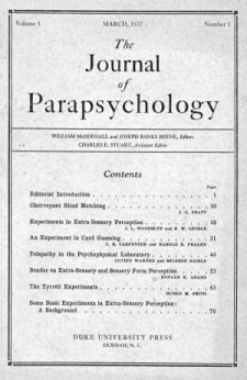 Front Cover of the First Issue of the Journal of Parapsychology