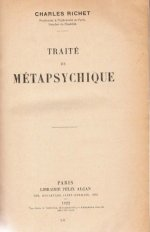 Cover 1922 Edition of Traite de Metapsychique