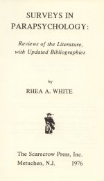 Frontispiece of Surveys in Parapsychology edited by Rhea White